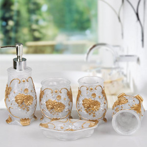 European resin Bathroom set Couple mouthwash cup Soap dish Toothbrush Holder Plastic tray Home decoration Christmas gift