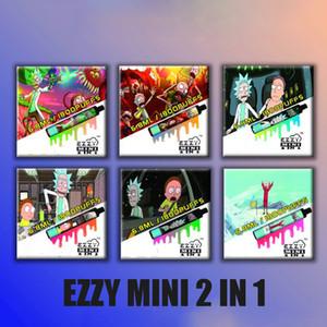 100% Original Rick Morty Ezzy 2 In 1 electronic cigarette Design Disposable Vape 800mAh Battery 6.8ml Pod 1800 Puffs double DHL FREE