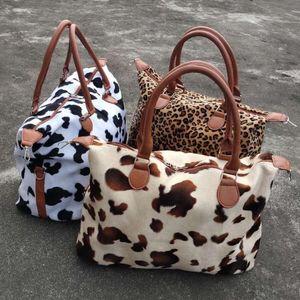 Leopard Cow Print Handbag Large Capacity Weekend Travel Bags Women Sports Yoga Totes Storage Maternity Bag DDA827