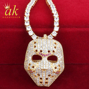 Face Mask Shape Rock Necklace for Men Gold Color Material Copper Full Cubic Zircons Hip Hop Jewelry Street With Tennis Chain