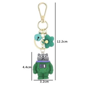 Cartoon Space Animal Astronaut Keychain Panda Fox Mouse Cat Keyring Cute Small Flower Keychain Women Bag Ornament Trinket Keyfob bbyzCu