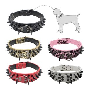 PU Leather Dog Collar Spike Rivets Pet Collars Adjustable Dog Neck Strap Cool Punk Pet Necklace Neck Belt Dog Accessories Z1127