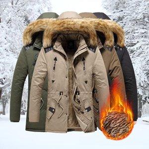 Winter Parka Men's 2020 New Windproof Jacket Fur Collar Hooded Solid Color Coat Mens Casual Thicken Winter Outdoor Overcoat Men
