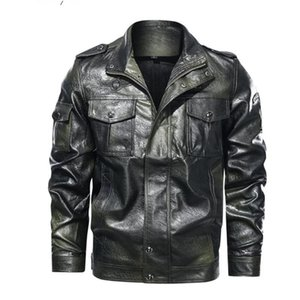 2020 Men's Classical Leather Jackets Fashion Leisure Motorcycle PU Leather Jacket Autumn Pluse Thin Velvet Lining Coats