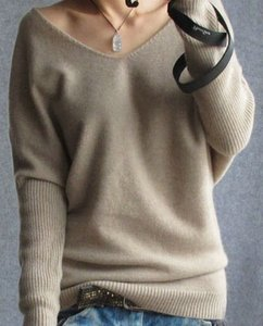 2021 primavera outono cashmere suéteres mulheres moda sexy v-pescoço camisola solta batwing manga plus size pulôver ly191225