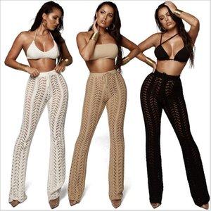 Crochet Pantalons de plage pour femmes Sexy Dame Hollow Hollow Night Club Port Pantalon Long Pants Maillot de bain Couverture