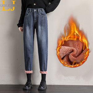 Leijijeans 2020 New Arrival Winter Plus Size Blue High Waist Women Boyfriend Pants Lady Woolen Jeans