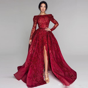 Sparkly Red Ball Gown Prom Dresses Bateau Neck Long Sleeve Side Split Sequins Beads Lace Applique Evening Gown With Overskirt Party Dress
