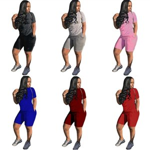 Champions Women Plus Size brand 2 piece set Fall Summer clothes gym t-shirt shorts sportswear tshirt leggings outfits tee top bodysuits 0576