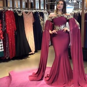 Robe De Soirée Dubai Arabic Prom Dress Mermaid Off the Shoulder Gold Applique Sweep Train Formal Evening Vestidos