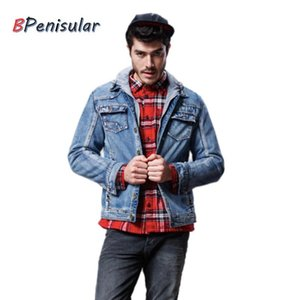 2020 Winter Men Thickened Fur Lining Casual Men Fashionable Cowboy Jacket Denim Jean Jackets Detachable Hood Hip Hop Goth work