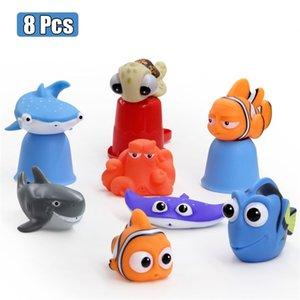 Baby Shower Toys Fun Fun Fun Soft Goma Float Float Spray Squeeze Toys Niños Animales jugando en el baño 201216