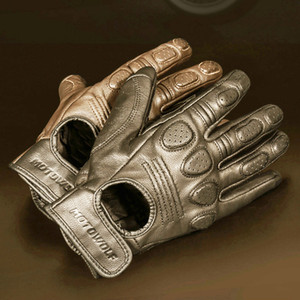 Retro Sheepskin Breathable Leather Motorcycle Racing Men's Motocross Winter&Summer Full Half-finger Gloves