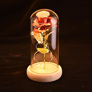 Led Gold-Plated Red Rose With In Glass Cover Dome For Wedding Party Artificial Rose With Led Light Mother'S Day Gift With Box