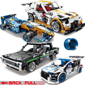 MOC Torna indietro Technic Racing Car Racer Racer Moc Camion Blocks Building Blocks Modello Tech Giocattoli per bambini Fit Lepining Decool LJ200928