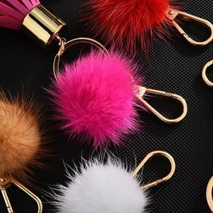 Fashion Sweet With Leather Ball Chain Pu Mink Fur Tassel Key Keychain Key Gifts Holder Creative Jewelry For Women Bag Ring JllQOI H Kgppt