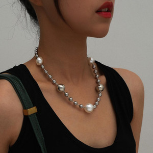 Punk Heavy Chunky Thick Chain Necklace Collares Party Gift Bohemia Big Pearl Bead Choker Necklace Women Jewelry