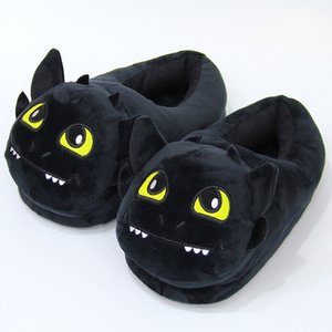 Anime Cartoon Toothless Plush Slipper Night Light Fury Stuffed Slides Winter Indoor Warm Cosplay Shoes Man Woman Unisex 201124