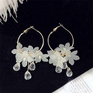 Kristall Reifen Ohrringe Kreis Blume Quasten Blütenblatt Wassertropfen Ohr Anhänger Frauen Charms Modeschmuck Zubehör 2 2Jd N2