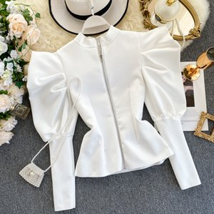 Women's Retro Top Puff Sleeve Temperament Stand Collar Zipper Before After Wearing Fashionable Wild Spring Autumn Blouse ML638 Y1112