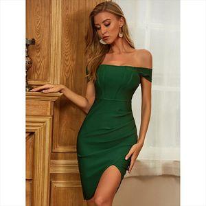 High Quality Deep Green Slash Neck Bodycon Sexy Rayon Bandage Dress Elegant Club Party Dress Drop Shipping