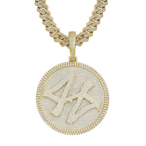 Gold Silver Colors Mens Bling HipHop Jewelry Bling CZ Iced Out Large Number 44 Spinner Pendant Necklace for Men Women with Cuban Chain
