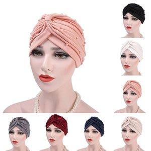 Muslim Women Elastic Cotton Ruffle Bead Turban Hat Cancer Chemo Beanies Cap Headwear Wrap Plated Hair Accessories