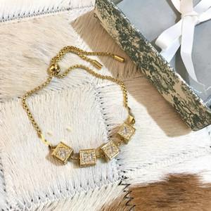 New Style Golden Fashion Bracelet Braccialetto Lettera Top Quality Brass Materiale Star Full Diamond Braccialetto Diamante Forma di coda Tirare braccialetto elasticizzato