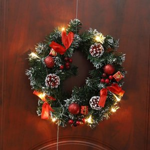 25 30 40cm LED Christmas Wreath With Artificial Pine Cones Berries And Flower Front Door Hanging Garland Holiday Home Decoration