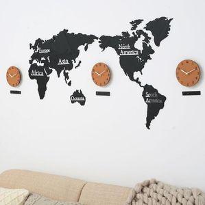 Wooden World Map Wall Clock 3D Map Decorative Design Home Decor Modern European Style Round Non Ticking Silent Wall Stick Clock ZYY426