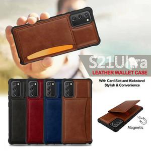 Slot de Cartão Flip de Luxo Voltar Caso para Galaxy S21 S20 Ultra S20fe S21 S10 PLUS TPU Couro Business Businessproof Coque Coque para Nota 20 10 Plus