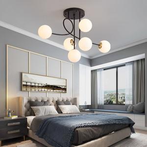 Modern LED lights Glass ball lamps Nordic hanging light bedroom pandent lighting living room bedroom office ceiling chandelier