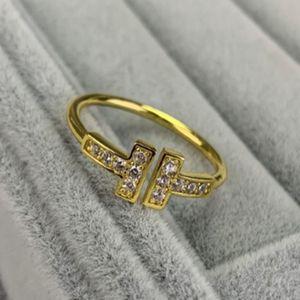 Marke 925er Sterling Silber Mode Doppel T Buchstabe Index Finger Ring Einfache Ins Tide Open Net Red Persönlichkeit Kalt Wind Ring Weiblich