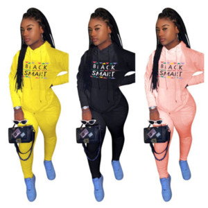 Black Smart Letter Womens Tracksuit Designer Outfits Two Piece Hooded Sweatsuit sportswear ladies hoodie and pants clothing set E112305