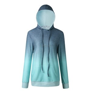 New Long Sleeve Gradient print Hoodies Women's Hoodies tops with pocket slim women clothes will and sandy gift
