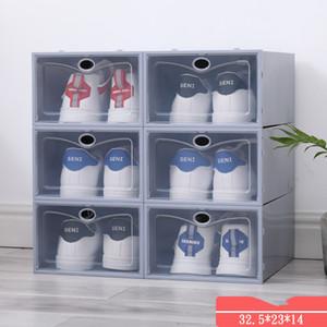 PP Kalınlaşmış Saklama Kutusu Çift Çerçeve Plastik Toz Geçirmez Kapaklı Ayakkabı Çerçevesi Ayakkabı Kutusu Ayakkabı Dolabı Şeffaf