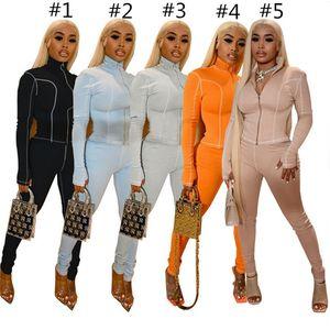 Женщины Scestsuits Дизайнер Конфеты Цвет Длинные Рукава Зубные Волончатые Пальто Брюки Логгинсы Мода YOGA Спортивные Спортивные Костюмы G11405