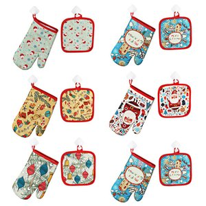 Baking gloves 2pcs set Decoration for Home Christmas 2020 Ornament New Year Xmas Gift DHF2831