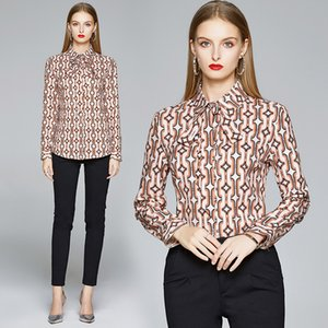 Temperament Bow Shirt Long Sleeve Women Tops Hot New Spring Autmn Printed Blouse Fashion Elegant Lady OL Shirt