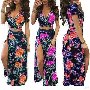 Beach Holiday Dresses Women short sleeves Maxi Skirt Set Summer Holiday Beach Sexy split Skirts Trendy Two Pieces Dresses Dresses For Womens