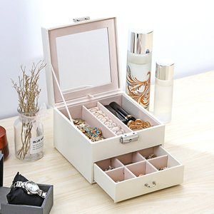 Luxury Jewelry Boxes with Large Space Organizer for Ring and Necklace Velvet Jewelry Holder with Mirror LB88 Z1123