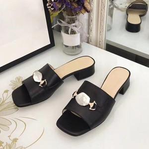 Moda tacones altos verano diseñador sandalias hermoso tacón espeso ocasional zapatillas de mujer mujer perezoso cómodo desgaste exterior zapatos de mujer