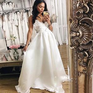 Simple Boho A Line Wedding Dress Satin Spaghetti Strap Lace Beach Wedding Gowns Plus Size Sweep Train Appliques Bridal Dresses