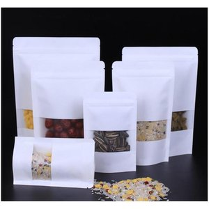 White Kraft Paper Mylar Self-styled Doypack Bags With Clear Window Food Tea Snack Package Storage Bag Stand Up Packagin wmtObO bdenet