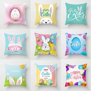 Cojín de Pascua Cubiertas de conejo con huevo Decoración para el hogar Cubiertas de almohada Digital Pascua Conejito imprimido Caja de almohada 18 * 18 pulgadas GWD4395