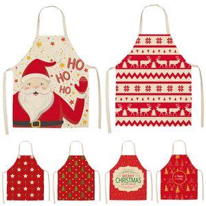 Decorazione di Natale Babbo rosso senza maniche in grembiule Cotone Lino Cucina Grembiuli Donna Home Cooking cottura Vita Bib Pinafore MX0005