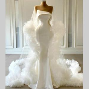 Modest Satin Mermaid Wedding Dresses with Wrap Ruffles Tulle Strapless Customize vestido de novia New Fashion Bohemia Birdal Dress
