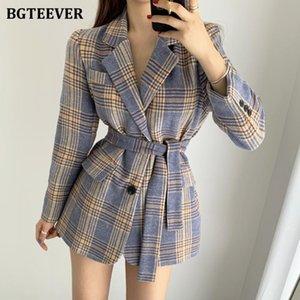 BGTeever Vintage Çentikli Yaka Kış Kadın Ekose Blazer 2020 Kış Zarif Tek Göğüslü Dantel-Up Kalınlaşmak Kadın Ceketler