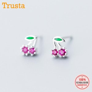 TrustDavis Luxury 925 Sterling Silver Women Fashion Linda pequeña fruta Cherry CZ Stud Pendientes para hija Joyería de las niñas DS585