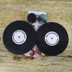 Donarsei vintage negro vinilo acrílico para mujeres personalidad círculo transparente disco caída colgando pendientes